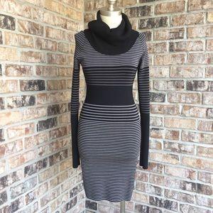 BCBGMAXAZRIA Striped Long Sleeves Sweater Dress M